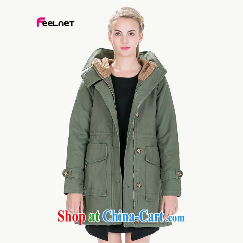 feelnet Korean girls 2015 new large code mm thick winter new Europe the code wind jacket 1492 army green code 5 XL