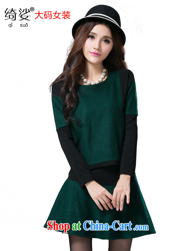 cheer for Fall_Winter new products, women mm thick stitching graphics thin XL long-sleeved wool is a thick T pension number 2363 green 5 XL