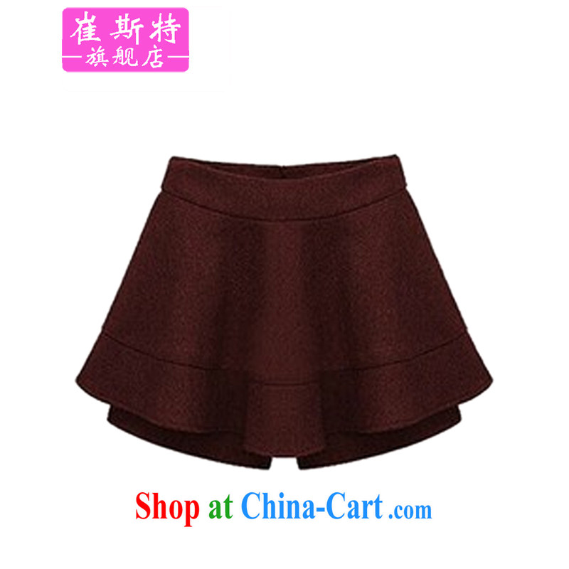 Special Offers clearance does not return not-for-winter new Korean version the fertilizer significantly, women with autumn gross weight does MM short skirts pants hot pants solid pants and skirts 907 wine red 5 XL (38 - 42)