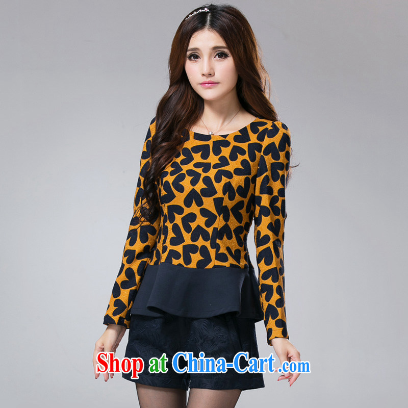 cheer for Fall_Winter new products, women mm thick heart pattern graphics thin and thick, and long-sleeved shirt T Item No. 2368 yellow 5 XL