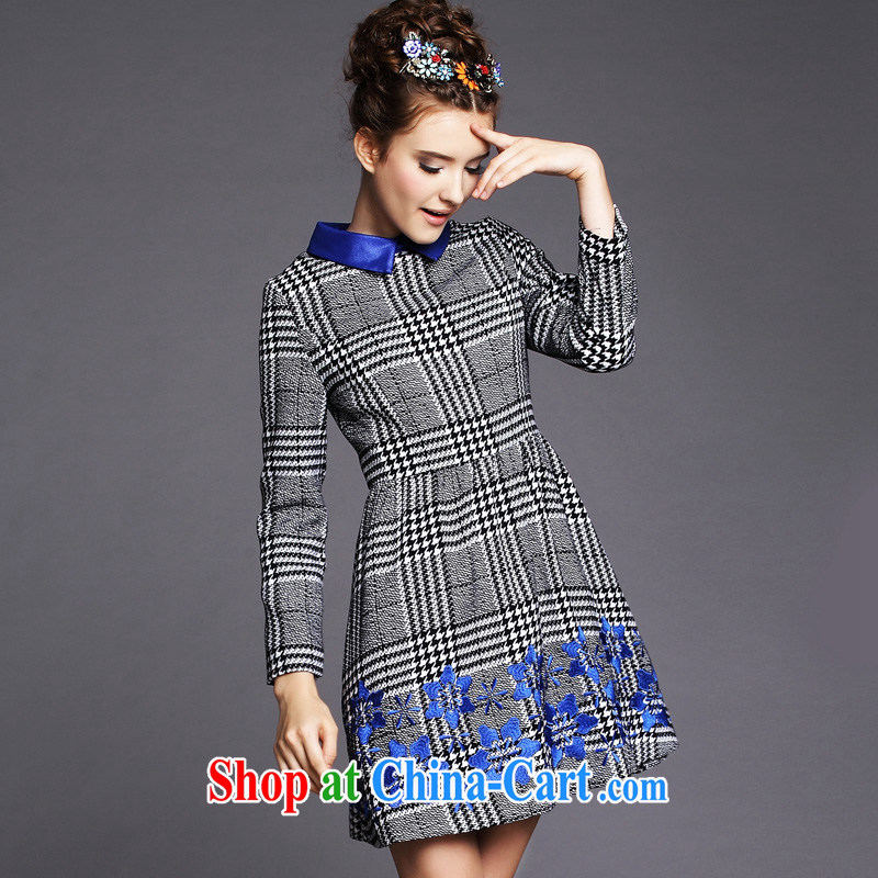 Emma in Europe and indeed the XL mm thick 2014 autumn and winter with long-sleeved roll collar dress 1000 birds, 5 XL _90 - 100 _ KG