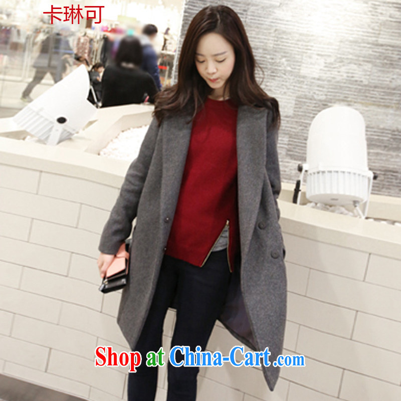 Card reader can be jacket women 2014 Korean version? A coat thick mm autumn and winter with the Code loose long hair that jacket gray M