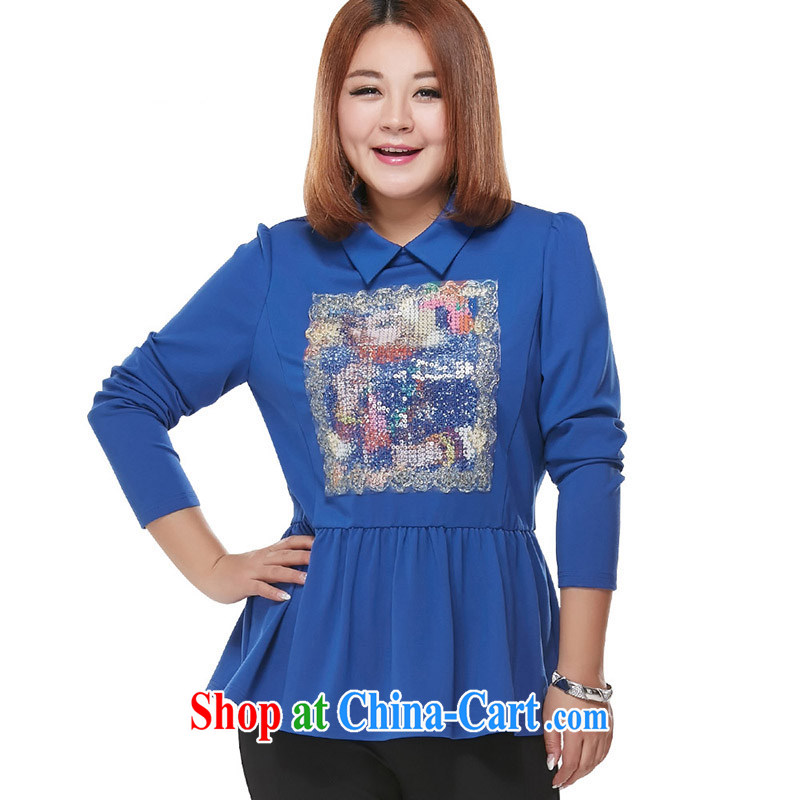 MsShe XL solid long-sleeved T-shirt blue 6 XL