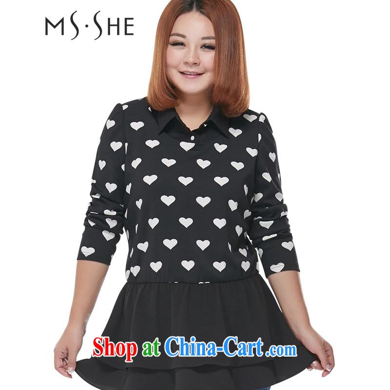 MsShe XL women spring 2015 new mm thick stitching neckline beauty flouncing T T-shirt T-shirt 2217 black 5 XL