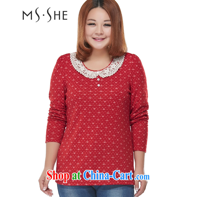 The MsShe Code women spring 2015 new thick mm sister lace graphics thin beauty solid shirt long-sleeved shirt T clearance 2438 red 5 XL
