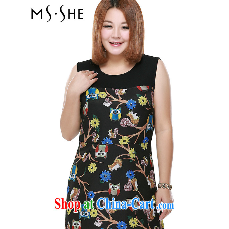 MsShe XL girls 2015 new summer round-collar stamp beauty graphics thin aura vest dress 2387 black 6 XL