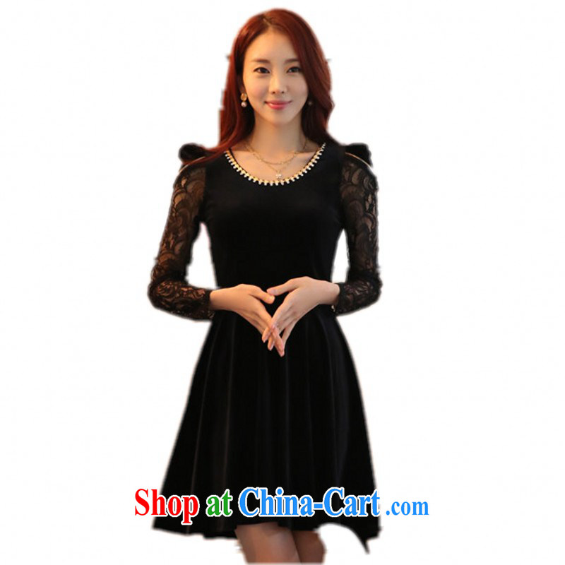 Package e-mail delivery increase code quality, velvet dress Korea and ventricular hypertrophy, elastic bubble long-sleeved ladies video thin solid skirt necklace Round black 3 XL approximately 160 - 180 jack