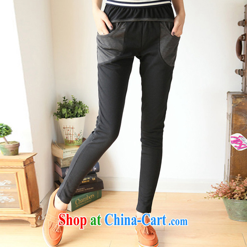 2015 spring new larger pencil girls pants high-waist graphics thin stitching the FAT and FAT sister pants stretch pants thick mm castor black XL (weight 150 - 190 jack)