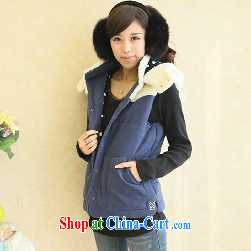 2015 spring the fat increase 200 Jack thick sister vest lamb lint-free Korean winter with the Code, a female fat mm video thin blue 4 XL _weight 170 - 210 jack_