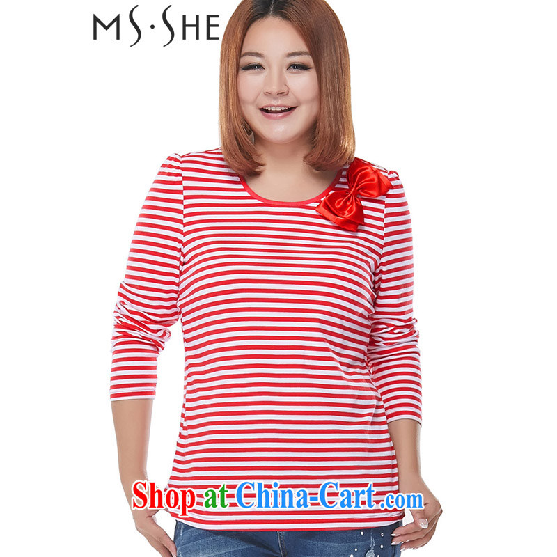 MsShe XL ladies' 2015 spring new thick sister streaks long-sleeved T-shirt solid shirt T pension 9671 red 6 XL