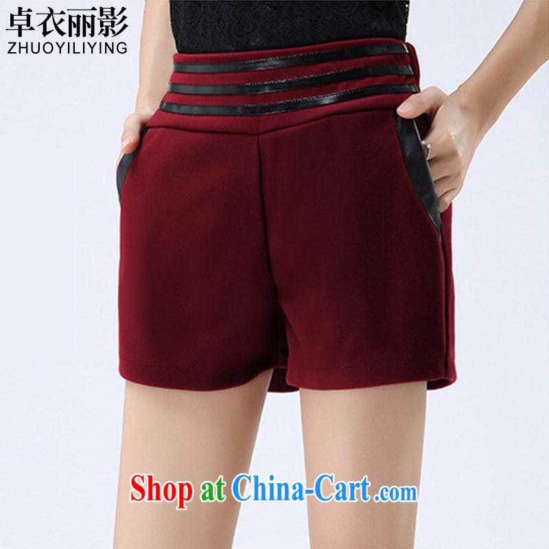 Cheuk-yan Yi-lai film 2014 autumn and winter, the large, high-waist hair is solid leisure shoes pants thick shorts YS 1170 wine red 4 XL