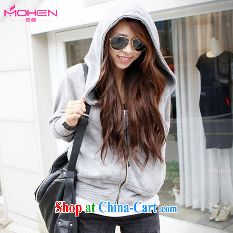 The ink marks spring 2015 ladies thick MM XL Korean loose cap T-shirt bat long-sleeved sweater relaxed Sports _ Leisure jacket minimalist 100 ground women jacket gray 2 XL _recommendations 125 - 135 jack_