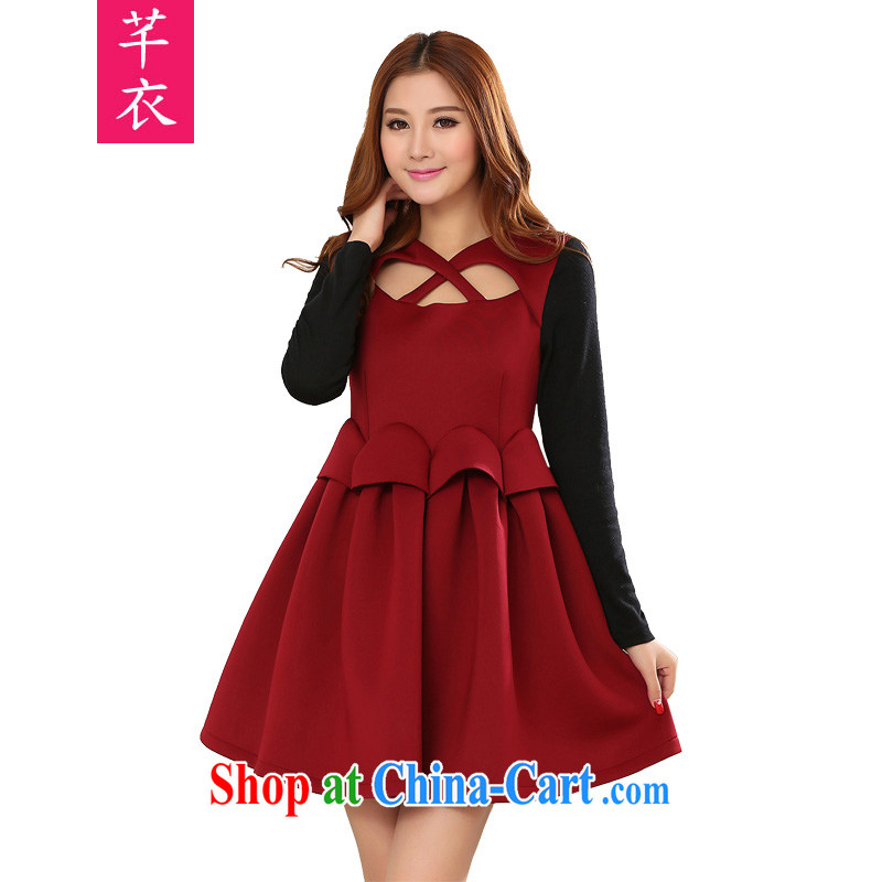 CONSTITUTION AND CLOTHING XL female spring skirt 2015 mm thick wine red thick lightweight warmth and charm shaggy black skirt stomach knocked color knitting a wine red 4 XL 165 - 180 jack