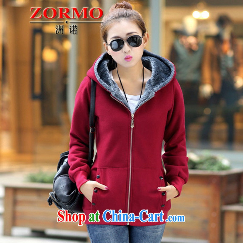ZORMO Korean female autumn and winter, lint-free cloth and a gross thick thick mm sweater cotton and fertilizer XL jacket female wine red 6 XL 185 - 215 jack
