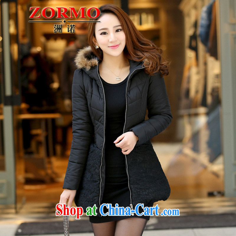 ZORMO winter 2014 new Korean female lace stitching thick mm and indeed XL quilted coat girls thick warm jacket black 6 XL