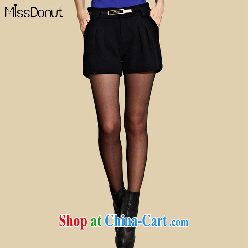 MissDonut spring 2015, thick, and indeed increase, female Korean video thin thick mm gross shorts? female black large code 5 XL