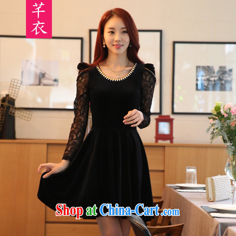 Constitution, 2015 NEW GRAPHICS gaunt the female Korean beauty charm gold velour lace long-sleeved dresses thick mm XL Black to reference brassieres option code or the Advisory Service