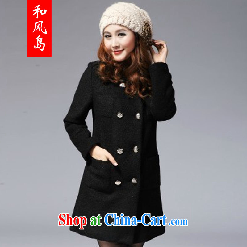 Island wind 2014 winter clothing new thick MM and indeed intensify, Korean Beauty coats wool coats? What gross jacket women 8073 black XXL