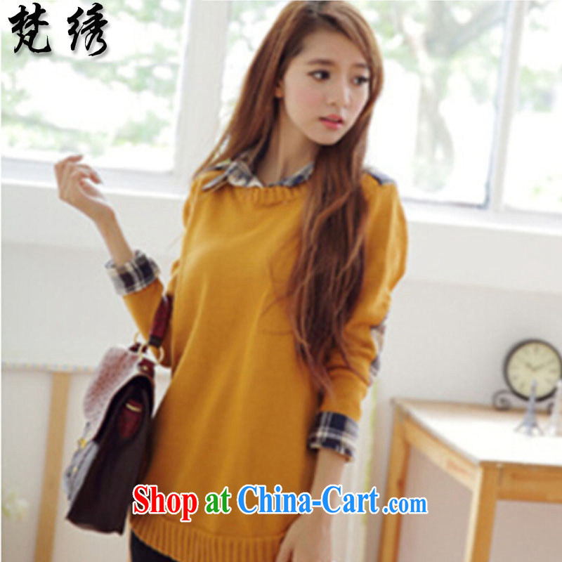 Van Gogh embroidery autumn 2014 the new Korean version loose leave two sweaters long knitted sweaters women 9998 yellow
