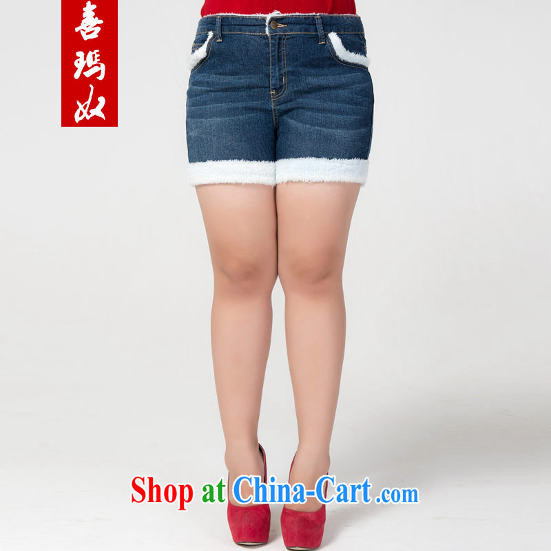 Hi Princess slave Korean thick MM larger female and lint-free cloth thick stylish warm hip jeans solid Women's Shorts M 76,549 blue 42 code 190 about Jack