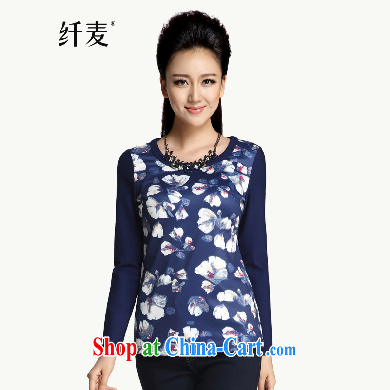 Former Yugoslavia, Mr Big, women 2014 winter clothes new thick mm sepia stamp 100 ground T long-sleeved shirt 944365107 blue 6 XL