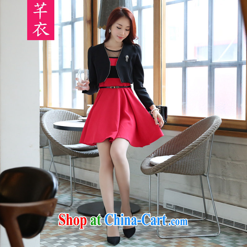Constitution Yi Korean version of the new, 2015 pure reduction than on aging long-sleeved video skinny shawl + vest skirt two piece dresses XL dress black T-shirt + red petticoat XL 3 160 - 180 jack