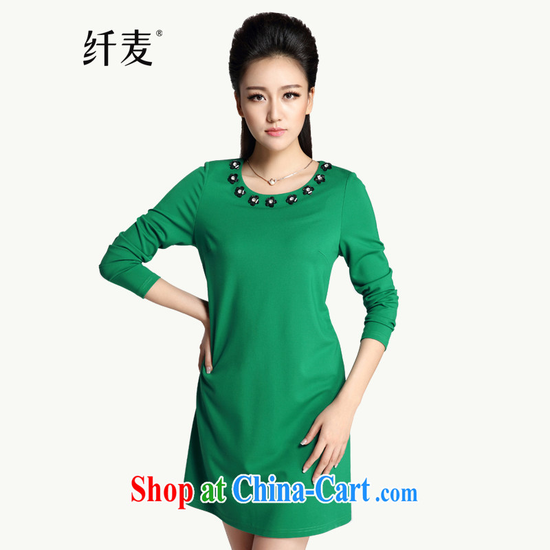 The Mak is the women's clothing 2014 winter clothing new thick mm stylish flowers collar pin Pearl dress 944101700 green 4 XL
