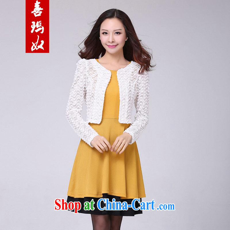 Hi Margaret slavery summer new, larger female stylish graphics thin aura surrounded the waist Sun meat round-collar dress small long-sleeved jacket is really two-piece white 3XL 170 Jack the following