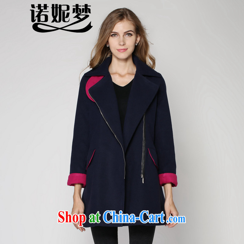 Connie's dream 2014 new winter clothes European sites increased in Europe and America, female fat in mm long the waist wool? zip jacket solid color lapel? The coat blue XXXXXL