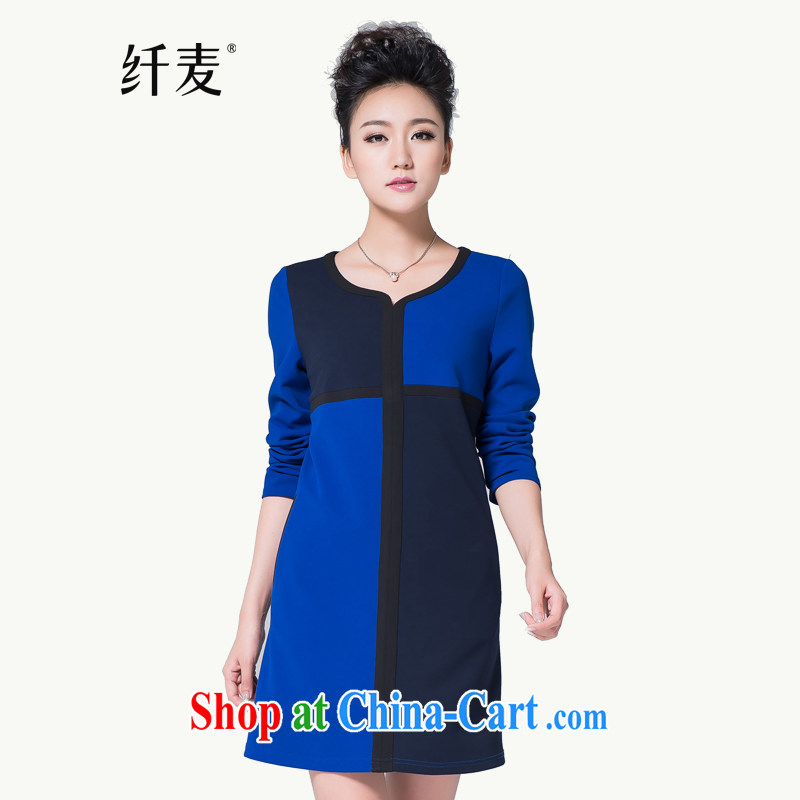 The Mak is the women's clothing 2014 winter clothing new thick mm geometry collision color stitching long-sleeved dress 944101689 blue L