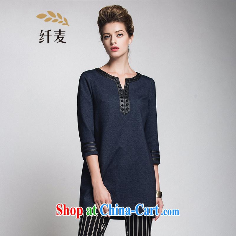 Slim, Mr Big, women 2014 winter clothes new thick mm stylish V collar rivets, long T-shirt 944365120 blue 5 XL