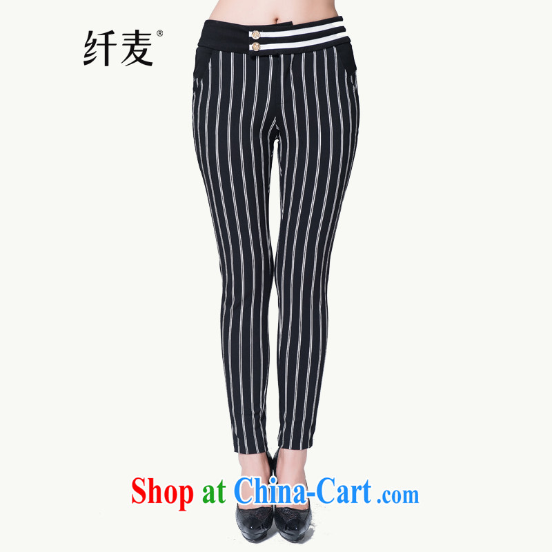 Slim, Mr Big, women winter 2014 the new thick mm stylish vertical streaks graphics thin pants 944091523 black 5 XL
