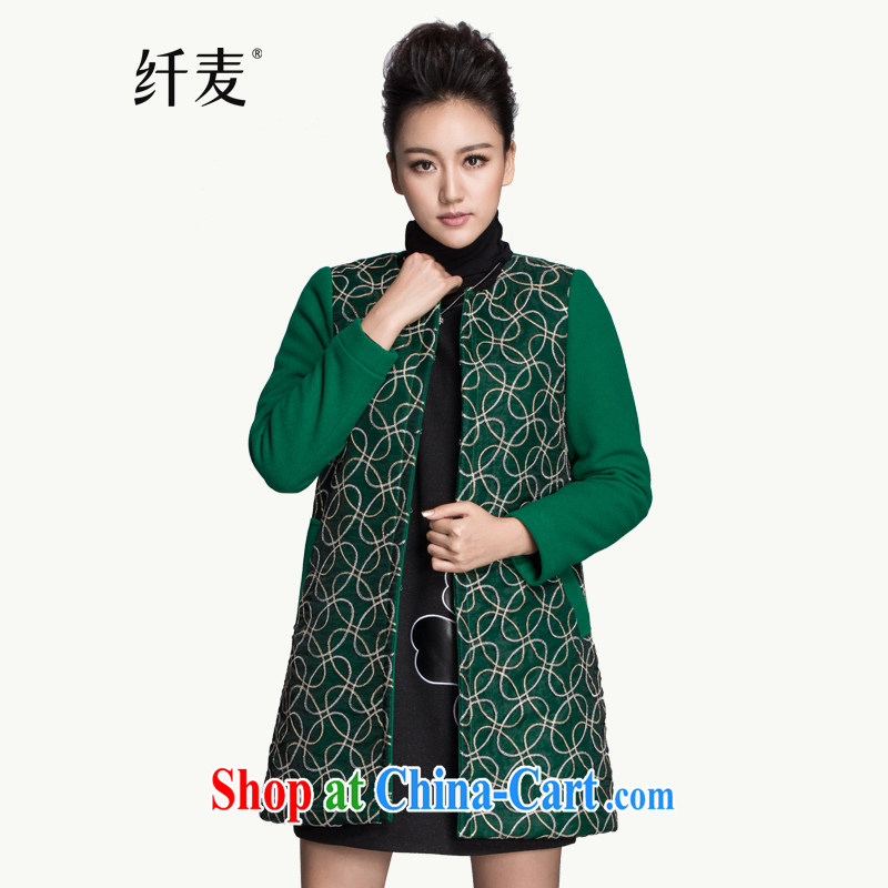 Slim, Mr Big, women winter 2014 installation of new, thick mm stylish retro floral hair? jacket 944187132 green 5 XL