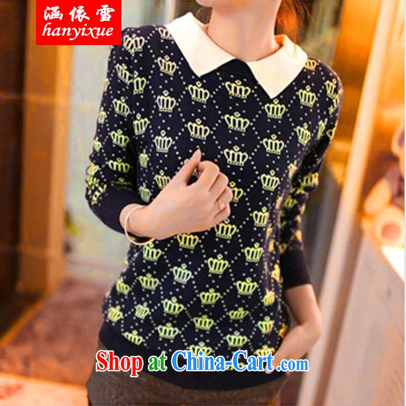 covered by snow in accordance with the FAT XL sweater larger female Korean thick MM lapel dolls mighty code knitted T-shirt sweater autumn and winter solid long-sleeved T-shirt picture color XXXL