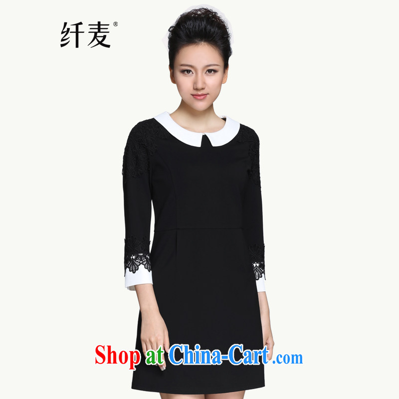 The Mak is the female 2015 spring new thick mm doll collar lace collage dress 951101777 black-and-white 3XL