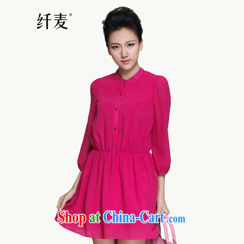 The Mak is the female 2015 spring new thick mm stylish solid-colored aura snow woven dresses of 951101780 red 5 XL
