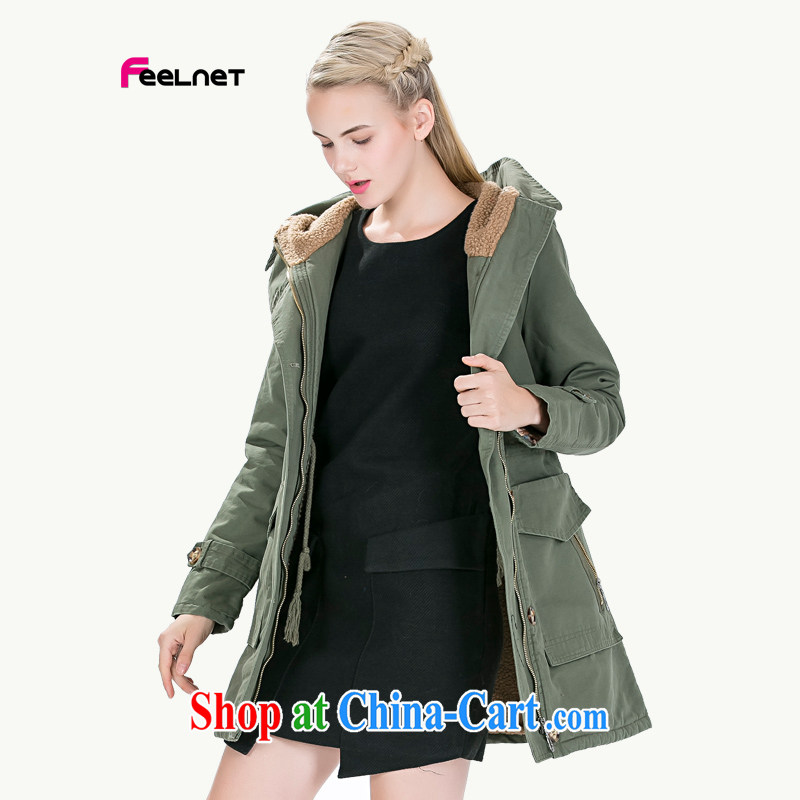 The feelnet Code women's coats Korean women's clothing 2015 new large code mm thick winter new Europe XL wind jacket 1492 army green the code 6 XL