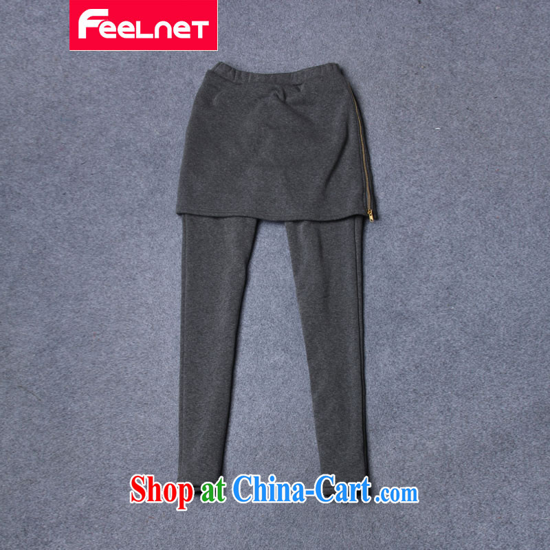 The feelnet Code women 2015 spring new thick mm Harlan pants stretch the lint-free cloth XL solid Trouser press 1497 large gray code 4 XL