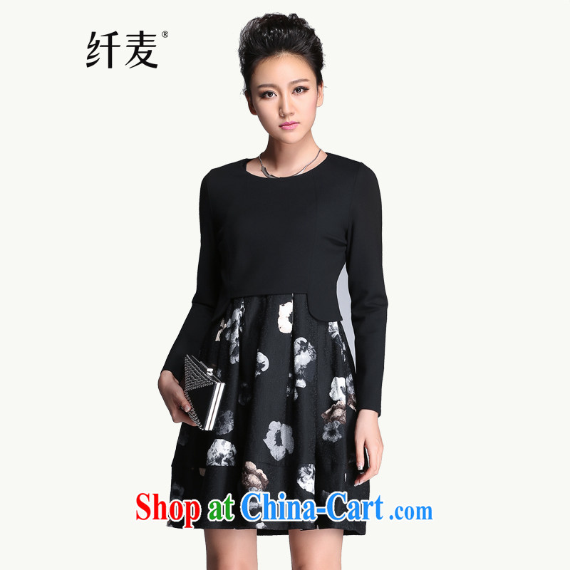 The Mak is the women's clothing 2014 winter clothing new thick mm two-piece floral style dress 951101797 flower black 6 XL