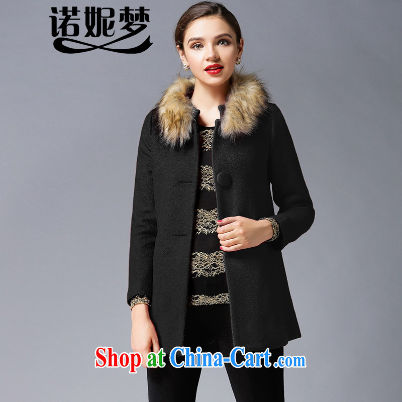 Connie's dream 2014 winter clothing new, high-end up in Europe and America, women with thick MM-waist hair? jacket thick simple and long hair collar coat Y 3304 black XXXXXL