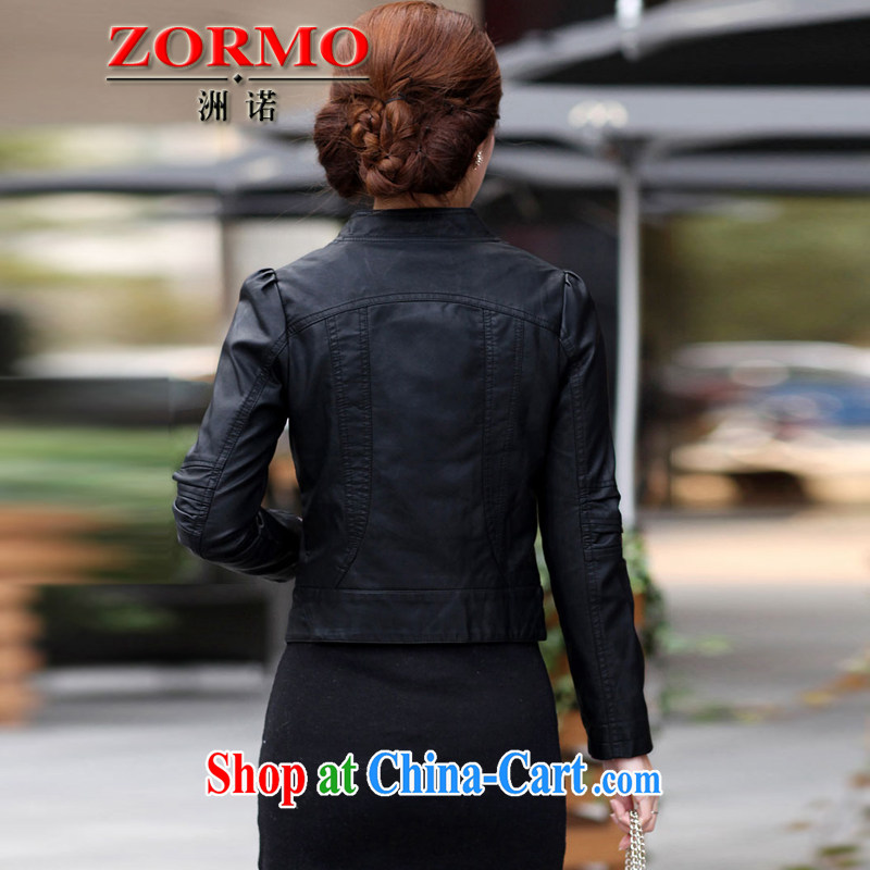 ZORMO Korean female autumn and winter, thick mmPU leather motorcycle jacket and indeed XL leather jacket black 4XL, ZORMO, shopping on the Internet