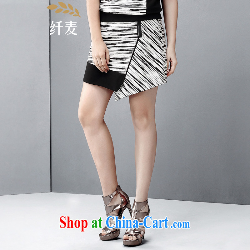 The wheat high-end large Code women spring 2015 new thick mm stylish knocked color black-and-white striped short skirt 851252060 black-and-white stripes 6 XL