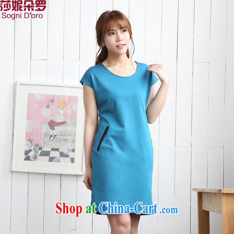 Laurie flower, the Code women summer wear thick, graphics thin, dresses fat sister and indeed XL 7722 skirt light blue 3 XL