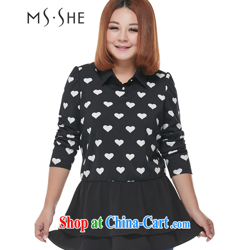 MsShe XL women winter 2014 new mm thick stitching neckline beauty flouncing T shirt 2217 black 6 XL