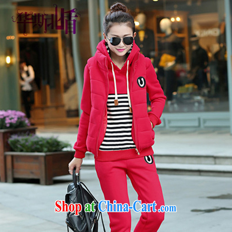 2014 new sweater girl sweater Kit hip trendy fashion College wind zip girls fall/winter Korean version and the lint-free cloth thick 3 piece sweater set up and down trousers Kit red XXL