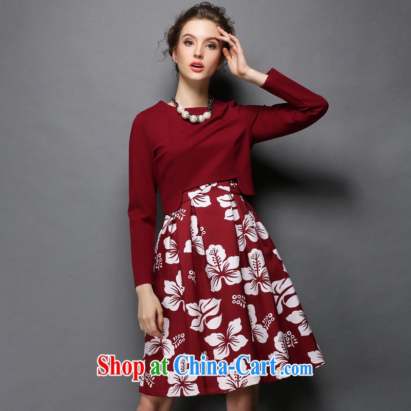 Emma high-end XL stamp long-sleeved thick mm dresses girls 200 Jack video thin two-piece maroon 5 XL _90 - 100 _ KG