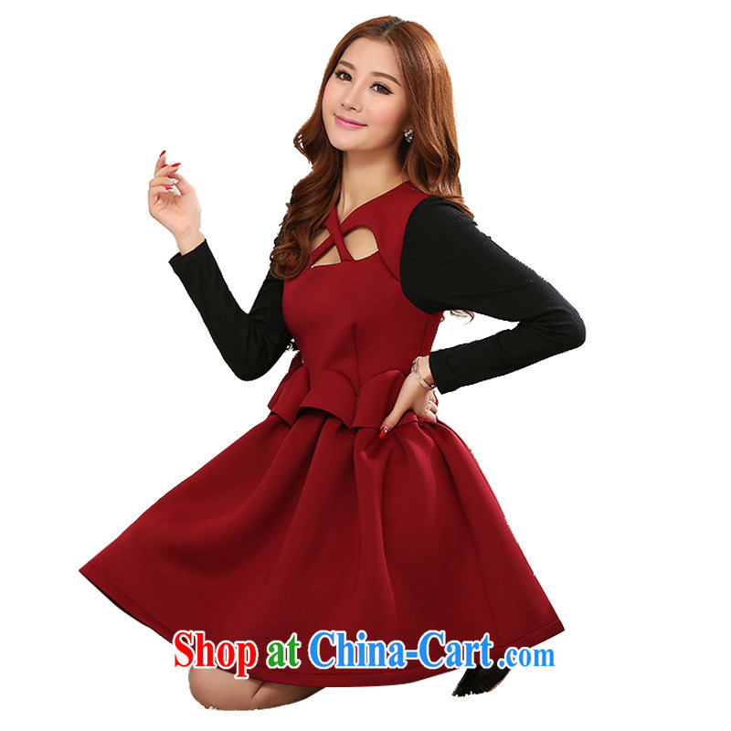 Constitution and colorful delivery female small dress Korean Palace style high waist shaggy dress Package Mail and ventricular hypertrophy, small red sexy round-collar long-sleeved thick night deep red XXXXL