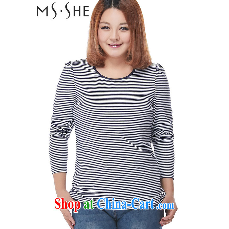 MsShe XL ladies' 2015 spring new emphasis on 100 mm ground round-collar long-sleeved striped beauty graphics thin solid T pension 2448 blue 4 XL