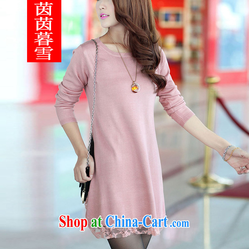 Athena Chu Yan and snow 2014 autumn and winter new cultivating larger female Korean sweater skirt girl Cashmere Sweaters dresses knitting girls 8936 pink XXXL