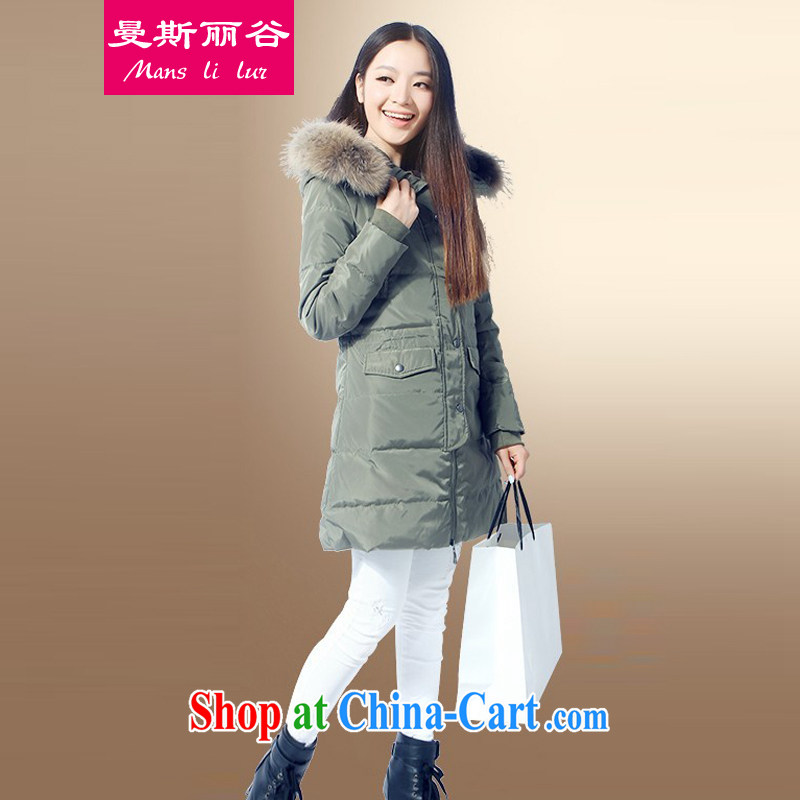 The beautiful valley 2014 winter clothing new Korean leisure warm thicken and widen jacket women loose the code thick MM down jacket winter army green with really gross for 6 XL